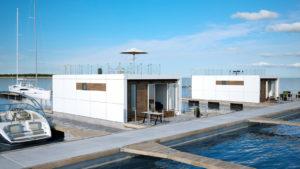 Husbåden 70 med store terrasser og forberedt for tagterrasse
